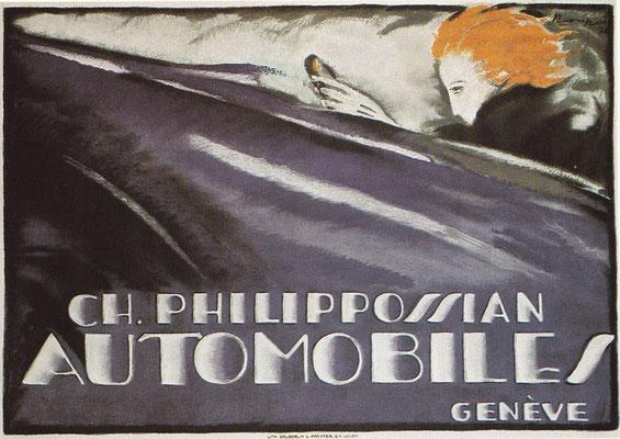 Affiche van Ch. Loupot voor Philippossian Automobiles uit 1920.