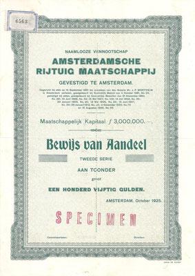 Een aandeel N.V. Amsterdamsche Rijtuig Maatschappij uit 1925 (specimen).