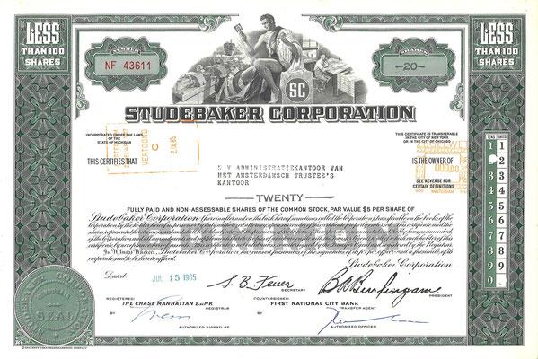 Certificaat voor 20 aandelen Studebaker Corporation uit 1965.