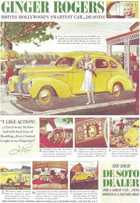 Een advertentie voor DeSoto met filmster Ginger Rogers.