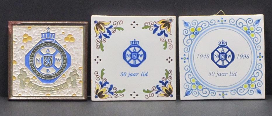 ANWB tegels voor 50 jaar lid.