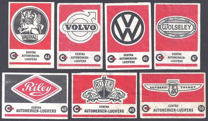 Centra lucifers, automerken, 1957, 44-50.