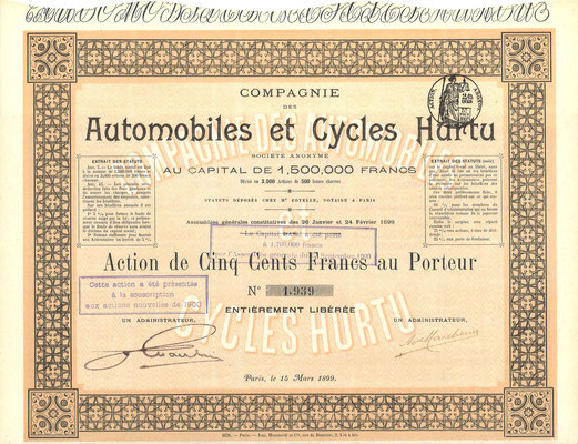 Een aandeel Automobiles et Cycles Hurtu uit 1899.