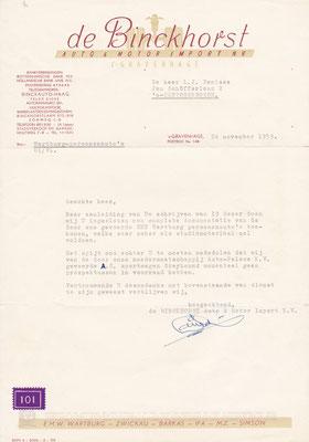 Brief auto en motor importbedrijf uit 1959.