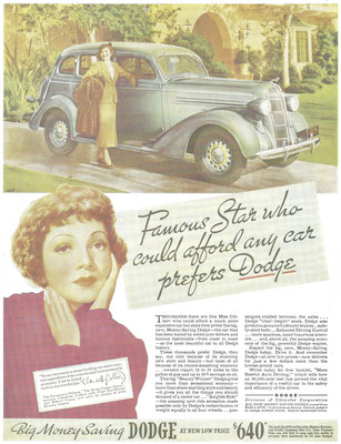 Advertentie Dodge met filmster Claudette Colbert.