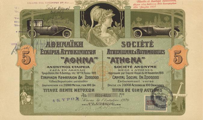 """5 Aandelen Société Athenienne d'Automobiles """"Athena"""" SA uit 1920."""