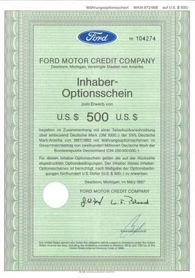 Inhaber-Optionsschein Ford Motor Credit Company uit 1987. Dit stuk (met een ander nummer) is te koop, prijs € 5,00 email: info@automobielhistorie.com