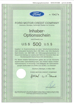Inhaber-Optionsschein Ford Motor Credit Company uit 1987.