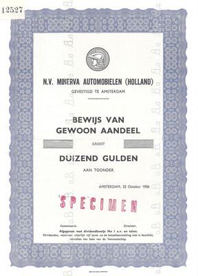 Een aandeel N.V. Minerva Automobielen (Holland) uit 1956 (specimen).