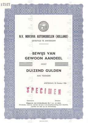 Aandeel N.V. Minerva Automobielen (Holland) uit 1956 (specimen).