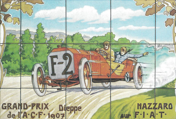 Nazarro met een F.I.A.T. tijdens de Grand-Prix in Dieppe in 1907.