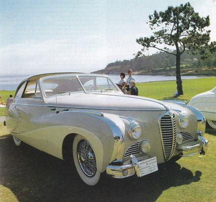 Delhaye Type 175 uit 1949 met een Coupe de Ville carrosserie van Saoutchik. De auto was gebouwd voor de auto show Parijs in 1949.