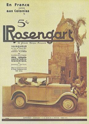 Advertentie van Rosengart uit begin dertiger jaren.