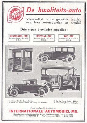 Nederlandse advertentie voor Studebaker uit 1926.