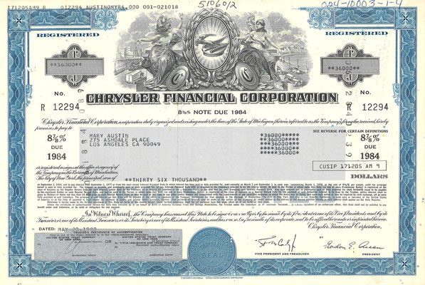 Obligatie Chrysler Financial Corporation, 36.000 dollars uit 1980.