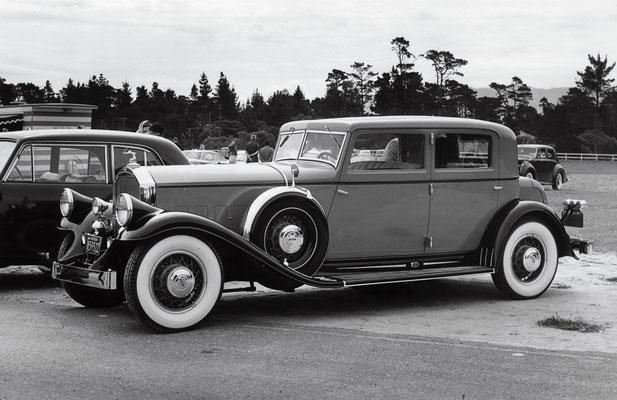 "Pierce-Arrow 41 LeBaron Sport Sedan uit 1931 van William Harrah, ""Best of Show"" op Pebble Beach in 1963."