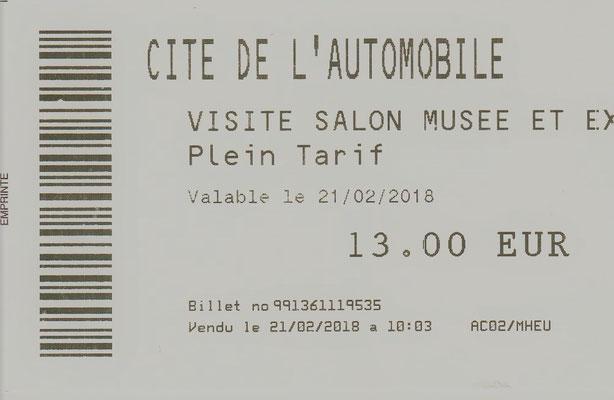 Toegangskaartje  Cité de l'Automobile (Schlumpf Collectie).