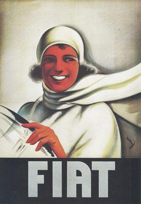 Een affiche uit 1928 van Mario Gros voor Fiat.