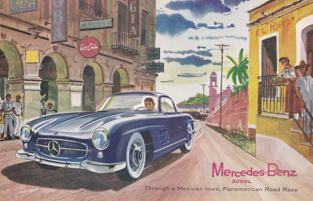 Mercedes-Benz 300SL door een Mexicaanse stad in de Panamerican Road Race (1956).
