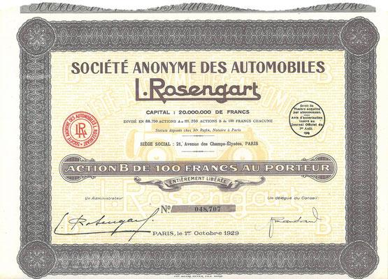 Een aandeel S.A. des Automobiles L.Rosengart uit 1929.