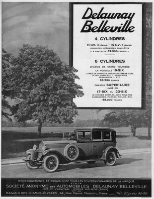 Een advertentie van Delaunay Belleville uit 1929.