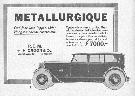 Nederlandse advertentie voor Metallurgique uit 1926.