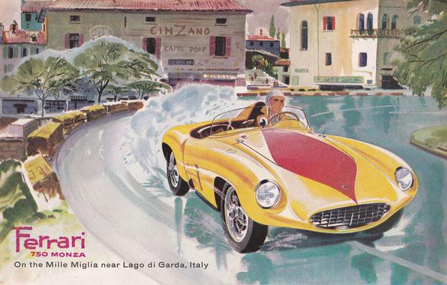 Ferrari 750 Monza tijdens de Mille Miglia nabij het Gardameer in Italië (1956).