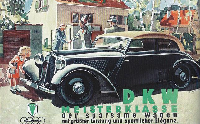 Reclame uit 1935 ontworpen door Victor Mundorff voor de DKW Meisterklasse.