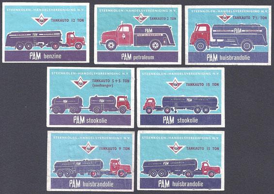 Luciferplaatjes van PAM tankwagens, 1962.