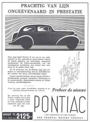 Nederlandse advertentie voor Pontiac uit 1935.