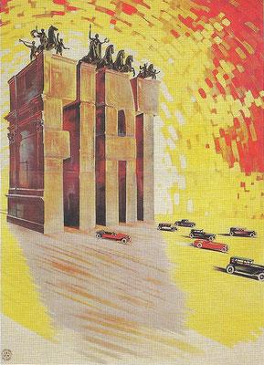 Een affiche uit 1927 van Guiseppe Romano voor Fiat.
