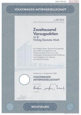 Aandelen (Aktien) DM 100.000 Volkswagen A.G. Wolfsburg uit 1986.