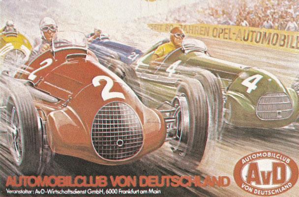 Een poster van de Duitse Automobielclub met de strijd tussen een Ferrari en een Maserati.