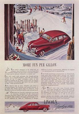 Amerikaanse advertentie voor de Lincoln Zephyr V-12 uit 1941.