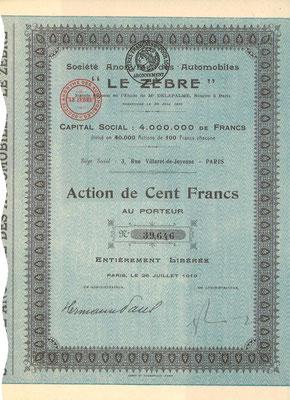 """Een aandeel S.A. des Automobiles """"Le Zèbre"""" uit 1919."""