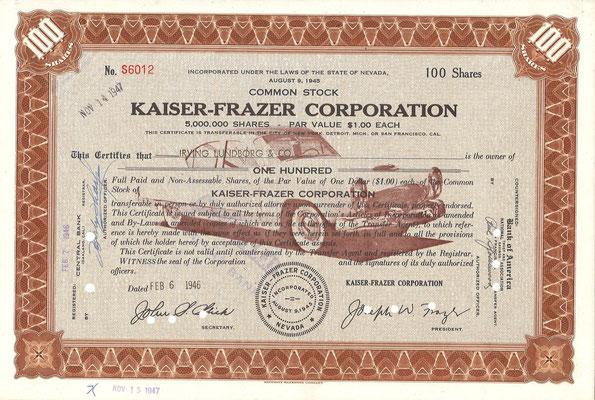 Certificaat voor 100 aandelen Kaiser-Frazer Corporation uit 1946.