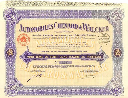 Een aandeel Automobiles Chenard & Walcker S.A. uit 1937.