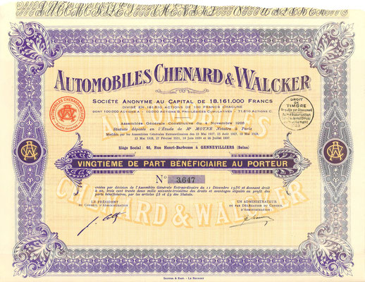 Aandeel Automobiles Chenard & Walcker S.A. uit 1937.