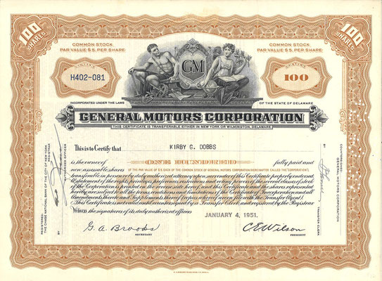 100 Aandelen General Motors Corporation uit 1951.