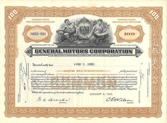 Certificaat voor 100 aandelen General Motors Corporation uit 1951.