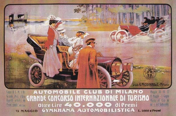 De automobiel club van Milaan kondigt een evenement aan.