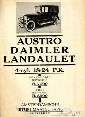 Een advertentie van A.R.M. voor Austro Daimler uit 1922.