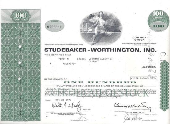 Certificaat voor 100 aandelen Studebaker-Worthington, Inc. uit 1977.