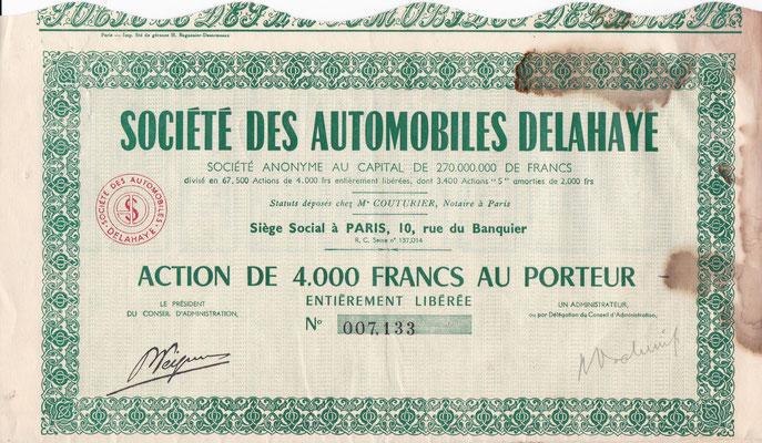 Aandeel Société des Automobiles Delahaye S.A.