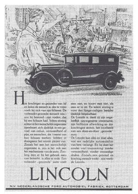 Een Nederlandse advertentie voor Lincoln uit 1930.