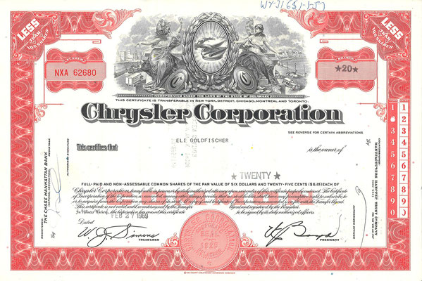 Certificaat voor 20 aandelen Chrysler Corporation uit 1969.
