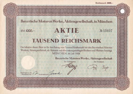 Aandeel (Aktie) 1000 RM Bayerische Motoren Werke A.G. München uit 1928. Dit was het jaar waarin BMW met de autoproductie begon door overname van de Dixi autofabrieken in Eisenach.