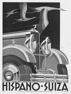 Franse advertentie van Hispano-Suiza in l'Illustration uit 1932, het kunstwerk is gemaakt door Alexis Kow.