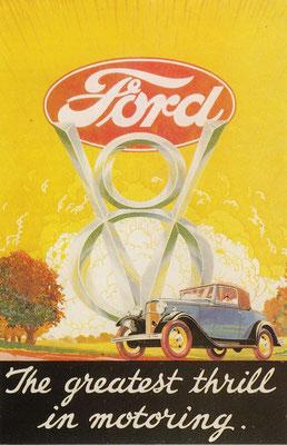 Een advertentie voor de Ford V8.