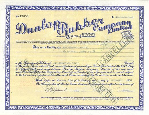 Certificaat voor een aandeel van 130 Pounds in Dunlop Rubber Company Ltd. uit 1954.